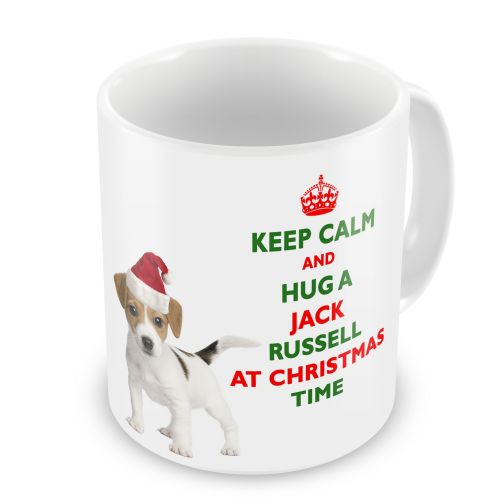 Christmas Keep Calm And Hug A Jack Russell Novelty Gift Mug